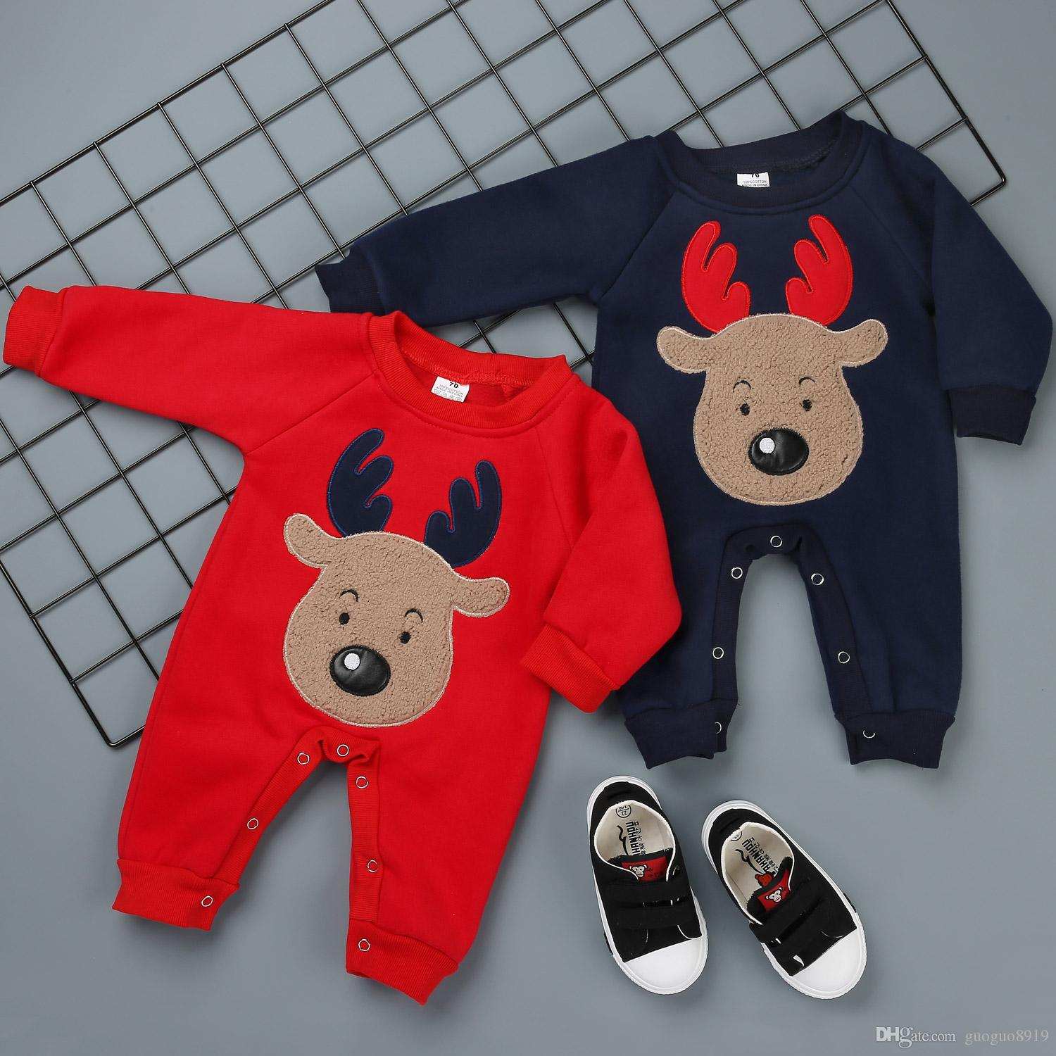 290b945d2 100%Cotton Baby Jumpers High Quality Baby One-Piece Christmas Elk ...