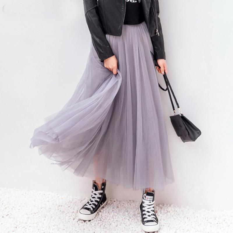 4e917d94d8f 2019 2018 Spring Summer Vintage Skirts Womens Elastic High Waist Tulle Mesh  Skirt Long Pleated Tutu Skirt Female Jupe Longue From Lin and zhang