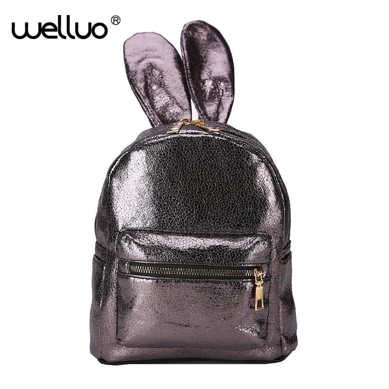 cd933e717f Fashion New Glitter Mirror Backpack PU Leather Women Bag Girl Mini Shoulder  Bag Cute Rabbit Ear Sequins Travel Backpacks XA461WB Girl Backpacks Toddler  ...