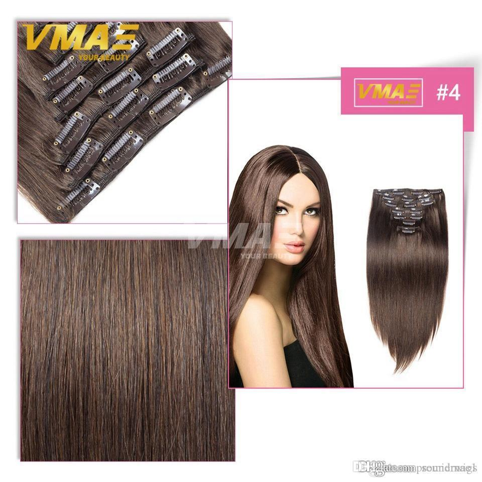 Online Cheap Straight Clip In Human Hair Extensions 1gstrand Double