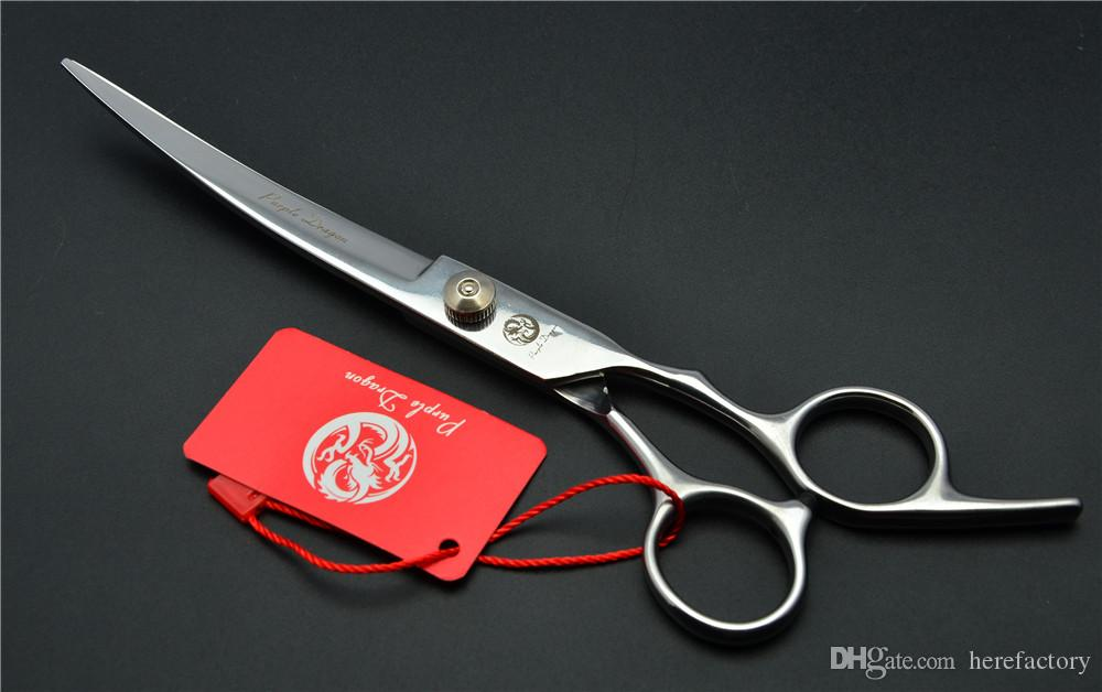 """Z4001 7"""" Japan Steel Purple Dragon Professional Pet Hair Scissors Dog Flur Clipping Shear Up Curved Cutting Shears Scissors for Dog Grooming"""