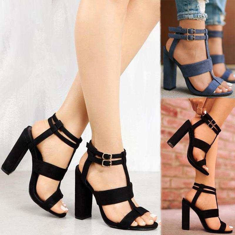 Tacones altos de gamuza de las mujeres del dedo del pie con punta tipo T Rhinestones Bombas de la correa de tobillo LWHI3HvcYY