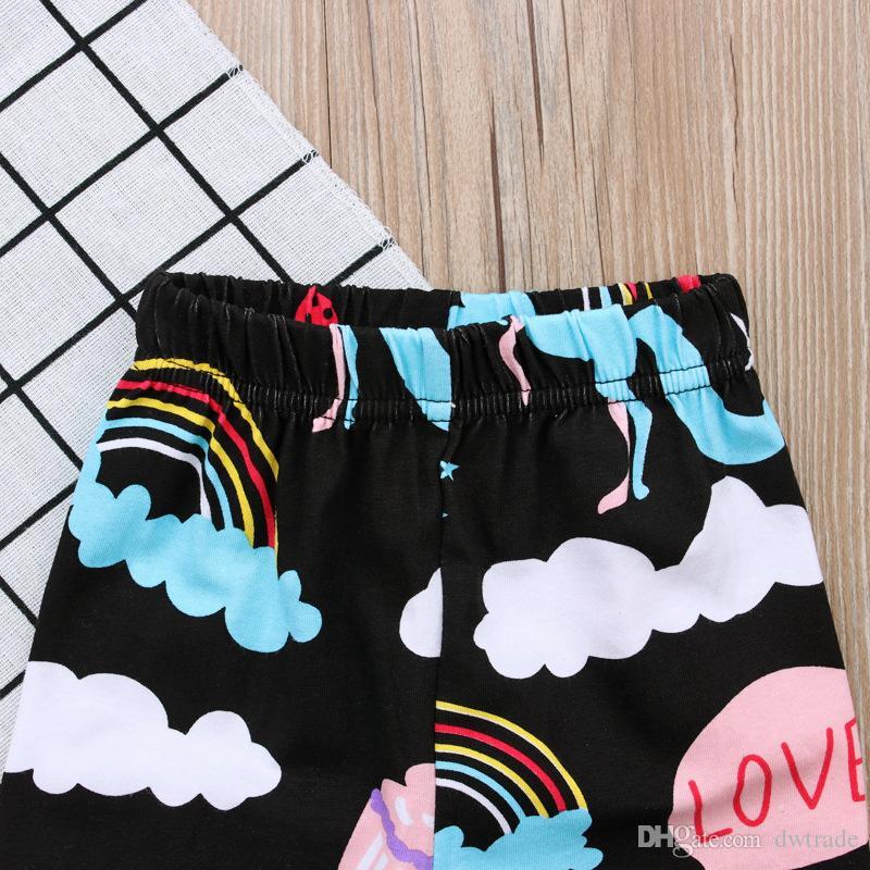 2018 Spring Girls Cotton Unicorn Pattern Printed Black Shirt + Black Flowers Prined Lace Pants Suits Children Suits 90-130cm a