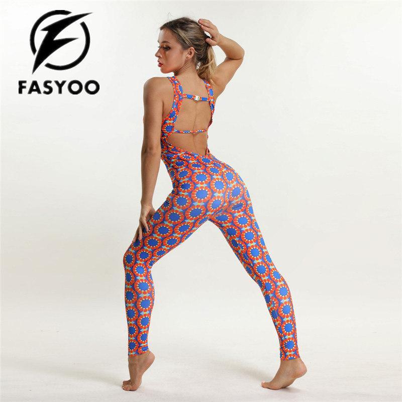 1768b62c4bf0 Acquista Abbigliamento Sportivo Da Donna Stampato Tuta Da Ginnastica Tuta  Sportiva Da Yoga Insieme Conjoined Lady Girl Elastico Yoga Fitness  Abbigliamento ...