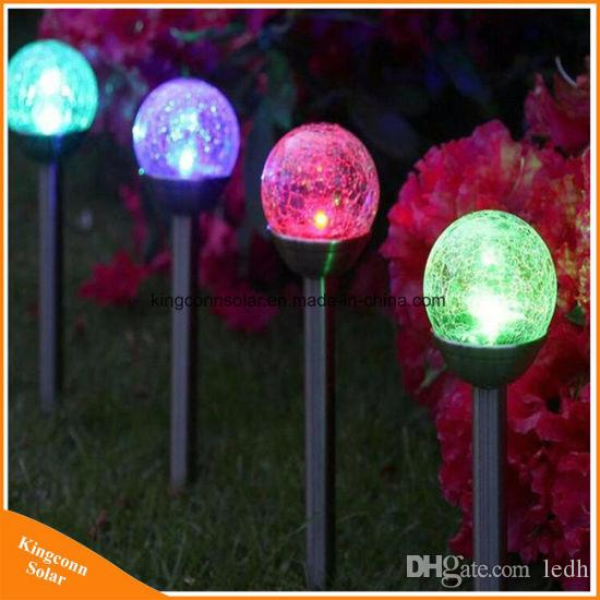 Changing Outdoor Solar Lights Cracked Glass Ball Led