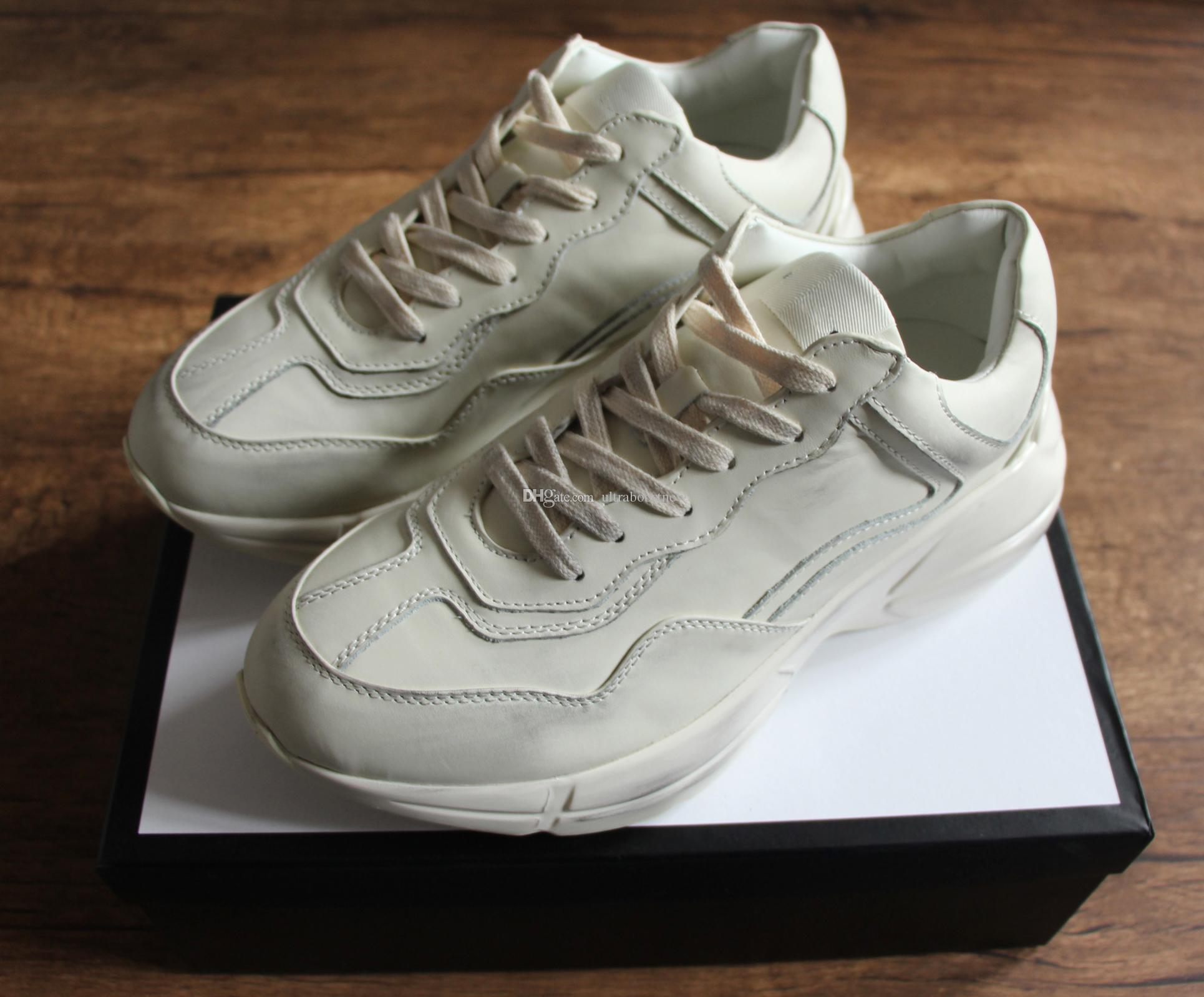 Scarpe Walking Fashion Sneaker In Pelle Rhyton Uomo Donna Best Luxury Scarpe  Sportive Firmate Vera Pelle Suola Spessa Scatola Originale Taglia Grande 35  46. 7fa073417b0