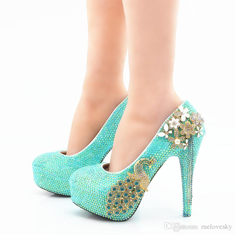 65f9deffffe35 2018 Handmade Beautiful Blue AB Crystal High Heels Wedding Shoes Phoenix Rhinestone  Bridal High Heels Fashion Party Prom Wedding Dress Shoes Loafers Mens ...