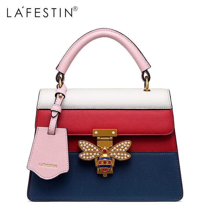 8c55f64b08f7 LAFESTIN 2017 Women Handbag Bag Genuine Leather Bee Panelled Fashion Women  Fashion Crossbody Bag Designer Luxury Brands Bolsa Fashion Bags Designer  Handbags ...