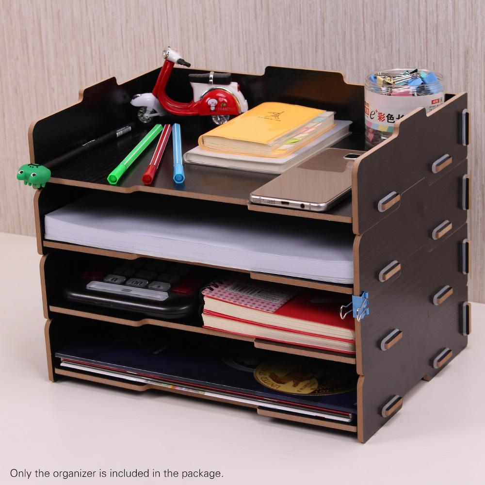 Wood Desk File Organizer Document Holder Letter Tray 4 Layers For Office School Home Use Set