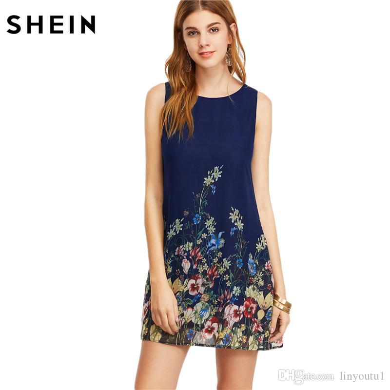 35e24c3b3e4 SHEIN Womens Dresses New Arrival 2017 Navy Buttoned Keyhole Back Flower  Print Scoop Neck Sleeveless A Line Dress Long Short Dress Cocktail Dresses  Long From ...