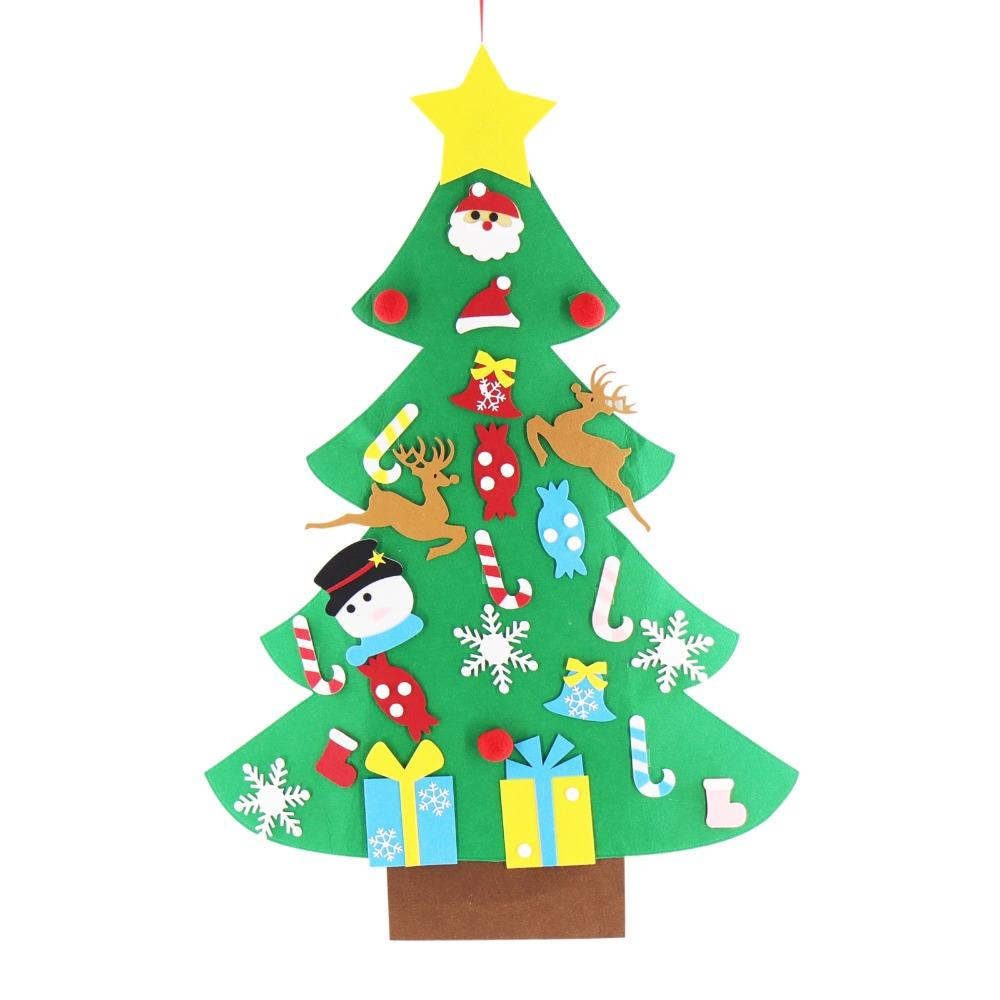 diy felt christmas tree with ornaments for christmas xmas new year party gift door wall hanging decor christmas decorations clearance christmas decorations