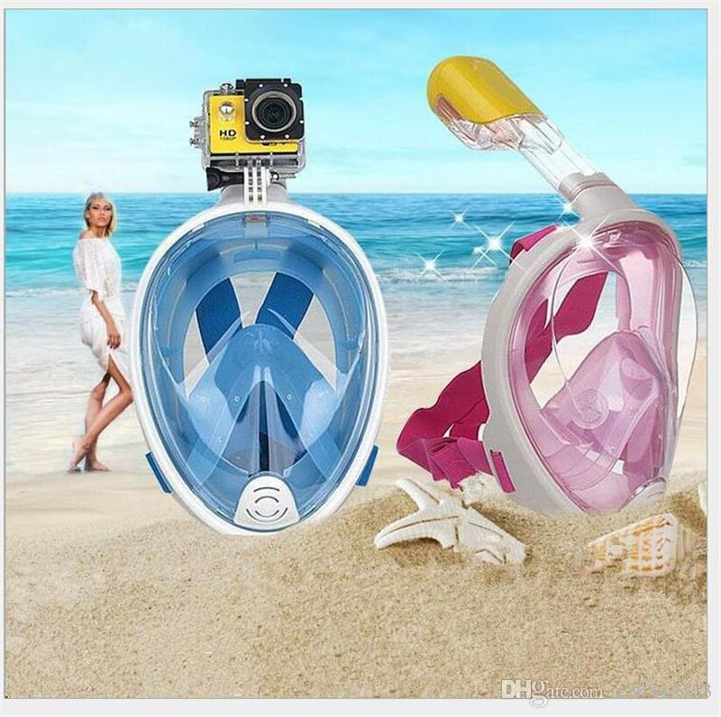 Underwater Diving Mask Snorkel Set Swimming Training Scuba mergulho full face snorkeling mask AntiFog With earplug SJ4000 gopro camera stand