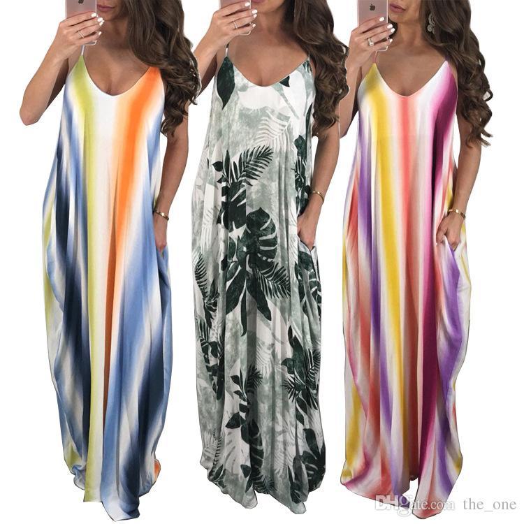 e0600a7752a54 Satın Al Kadın Yaz Elbiseler Seksi Sling Çizgili Renkli Plaj Elbise Yeni  Backless V Boyun Kadın Giyim Kadın S Giyim Artı Boyutu Analık Elbiseler, ...