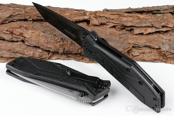 "2018 Kershaw Brawler Assisted Opening Knife 3.25"" Black 1990 Folding Pocket Knife 8Cr13MoV Steel Blade steel+G10 Handle"