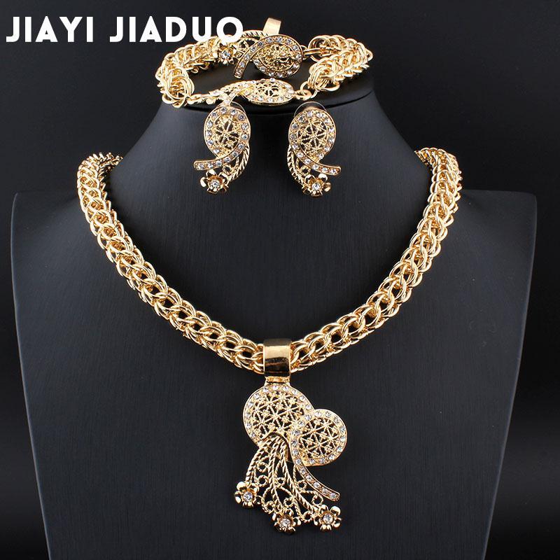 Schmuck & Zubehör Jiayijiaduo Hochzeit Schmuck-set Afrikanische Perlen Schmuck Set Von Frauen Schmuck In Licht Gold Farbe Halskette Set Perlen Hochzeits- & Verlobungs-schmuck
