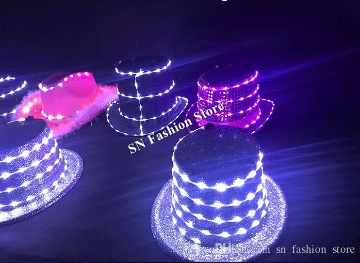 LZ34 LED purple light costumes ballroom dance luminous hat led dj singer chapeau glowing dancer cap bar club wears show dresses performance