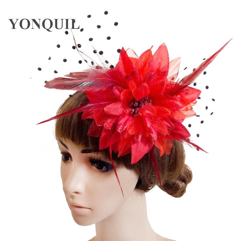 Women Girl Hair Clip Lace Feather Mini Top Hat Fascinators Fancy Party Dress Fabric Flower DIY Accessories FS81 Baby Boy Birthday First