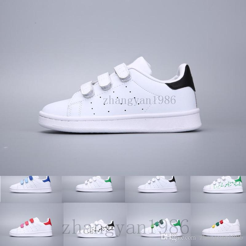 brand new 78994 5ef50 Compre Adidas Superstar Stan Smith Zapatos Para Niños Kids Estilo Clásico Stan  Smith Zapatos Para Niños Niñas Blanco Color Verde Musial Stan Smith  Superstar ...