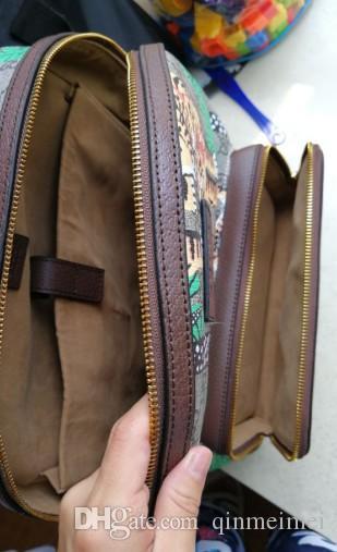 Moda Genuine Leather Tela Tigre Tigre Verde Árvore Impresso Padrão Bolsa De Ombro Mensas Mochila Womens com Zipper Soho Classic Saco