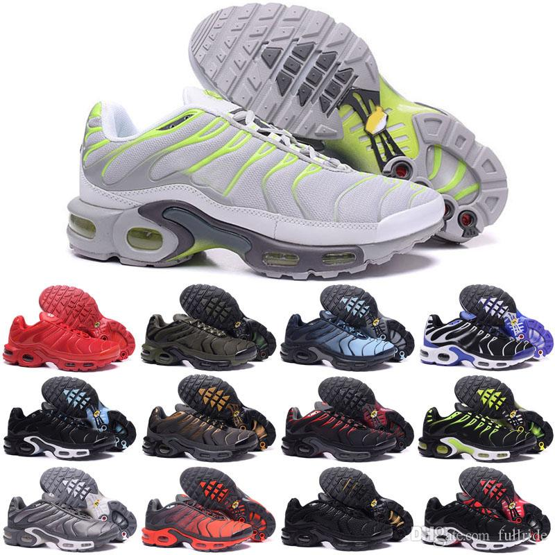 5edc29bc1d6 2018 New Running Shoes Men TN Shoes Tns Plus Air Fashion Increased  Ventilation Casual Trainers Olive Red Blue Black Sneakers Chausseures Running  Shoes Tn ...