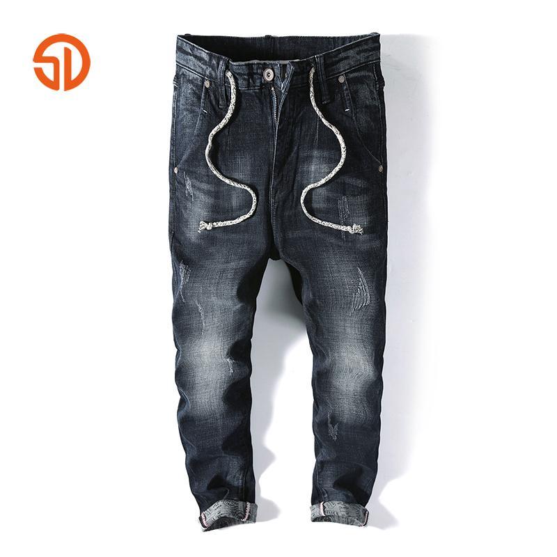 d86619d0ee1 Fashion Men Harem Pants Brand Casual Drawstring Sagging Jeans Pants Men Trousers  Loose Crotch Pant Joggers Big Pockets Jeans Cheap Jeans Fashion Men Harem  ...