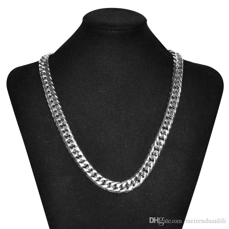 Silver/Gold Chains Necklace Hip Hop Jewelry Cuban Link Chain Necklaces&Pendants Men's Jewelry Stainless Steel Jewelry Lobster Claw Clasp