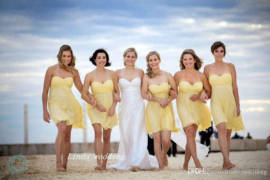 Strapless Yellow Bridesmaid Dresses for the Beach