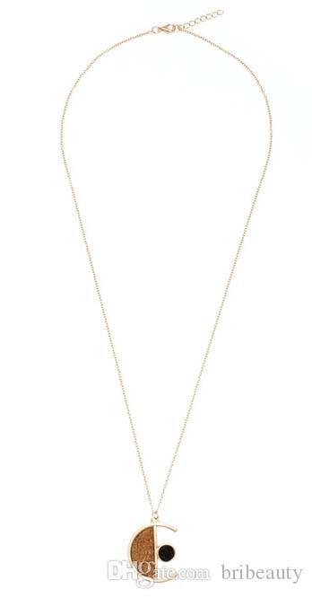 Золото нежный деревянное ожерелье стильная простота девушки дерево Луна ожерелье геометрический элемент сочетание металла длинный кулон