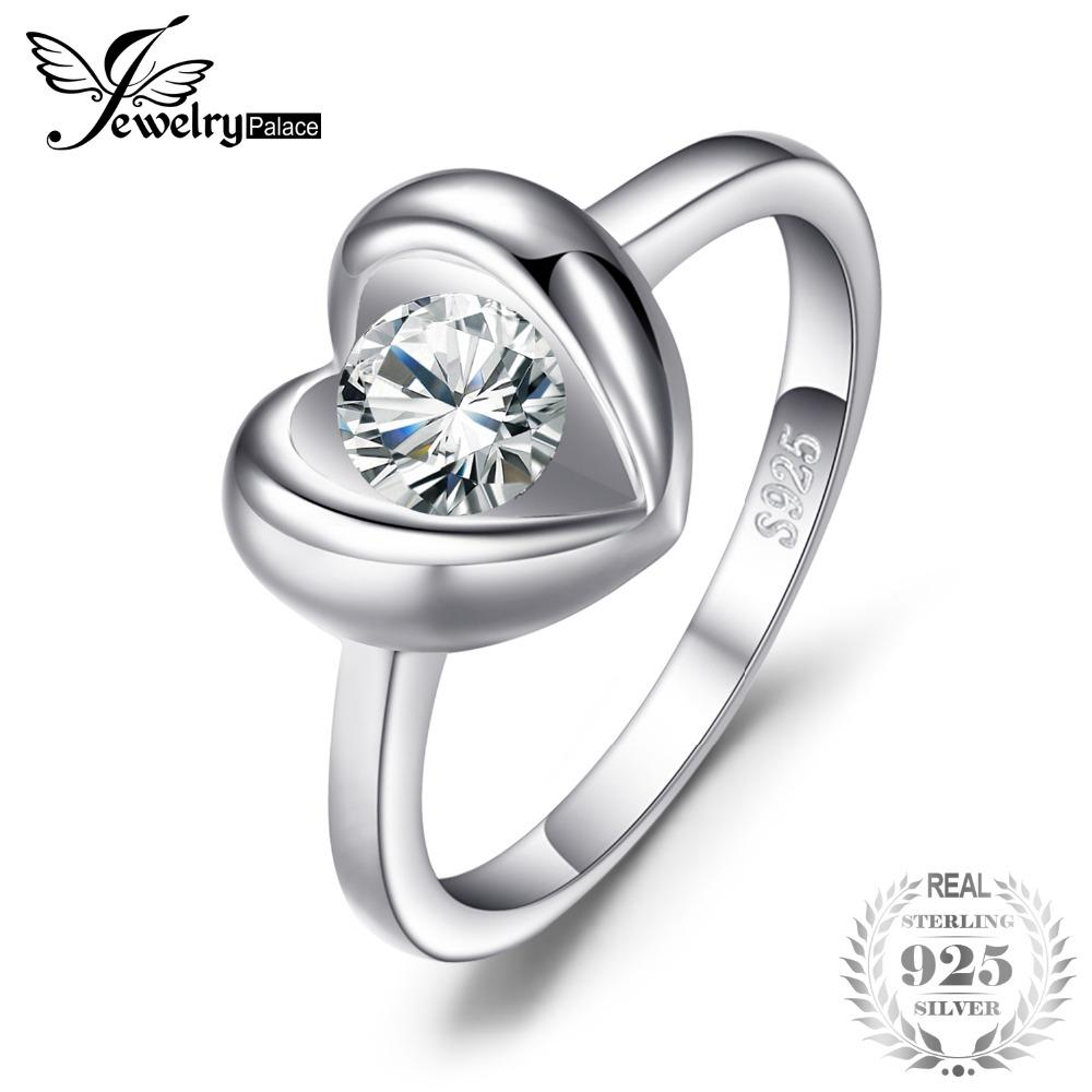 930409708c73 Compre Jewelrypalace Love Heart 0.6ct Anillo De Solitario De Zirconia  Cúbica 925 Anillo De Compromiso De Plata Esterlina Joyería De La Boda  Aniversario A ...