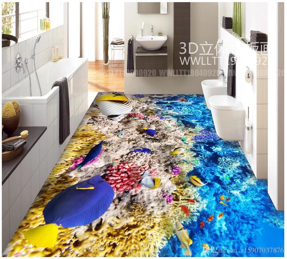 Floor painting wallpaper custom 3d Mediterranean fresco wallpaper Fish school underwater world 3D floor painting Self adhesive 3D Flooring