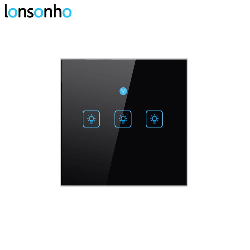 Lonsonho UK Wifi Switch Smart Switch Remote Control Wireless Light Touch  Wall Switches EWeLink Works With Google Home Mini Alexa