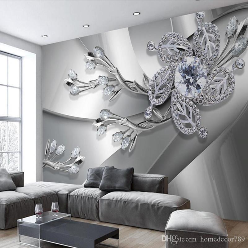 Custom Any Size 3D Wall Mural Wallpaper Diamond Flower Patterns Background Modern Art Large Wall Painting Living Room Home Decor