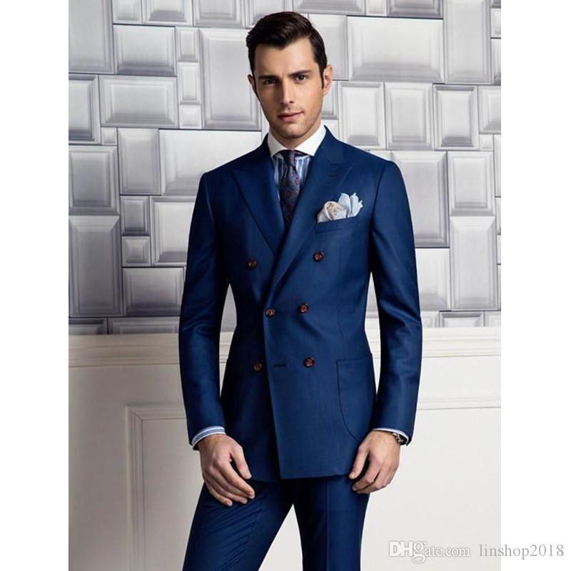 Custom Made High quality Classic Fit Peak Lapel Double Breasted Navy Blue Groom Tuxedos Bridegroom Suits Groomsman Suit Jacket+Pants