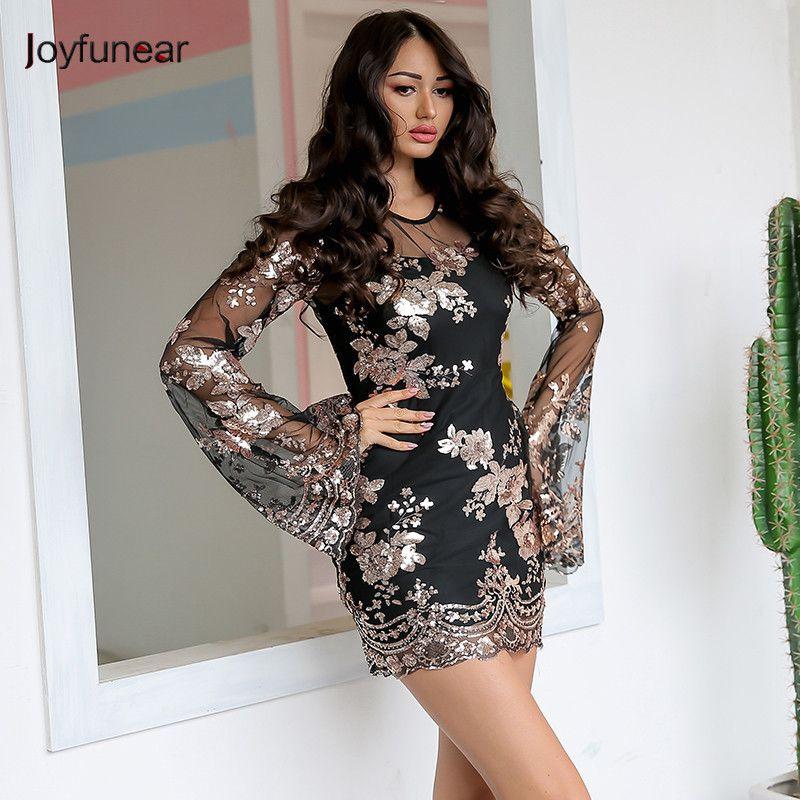 20187 Joyfunear Sexy Mesh Floral Sequin Party Dress Women Flare Sleeve  Transparent Short Dress Summer Black Two Piece Dress Vestido Floral Maxi Lace  Dress ... d15acb13b957