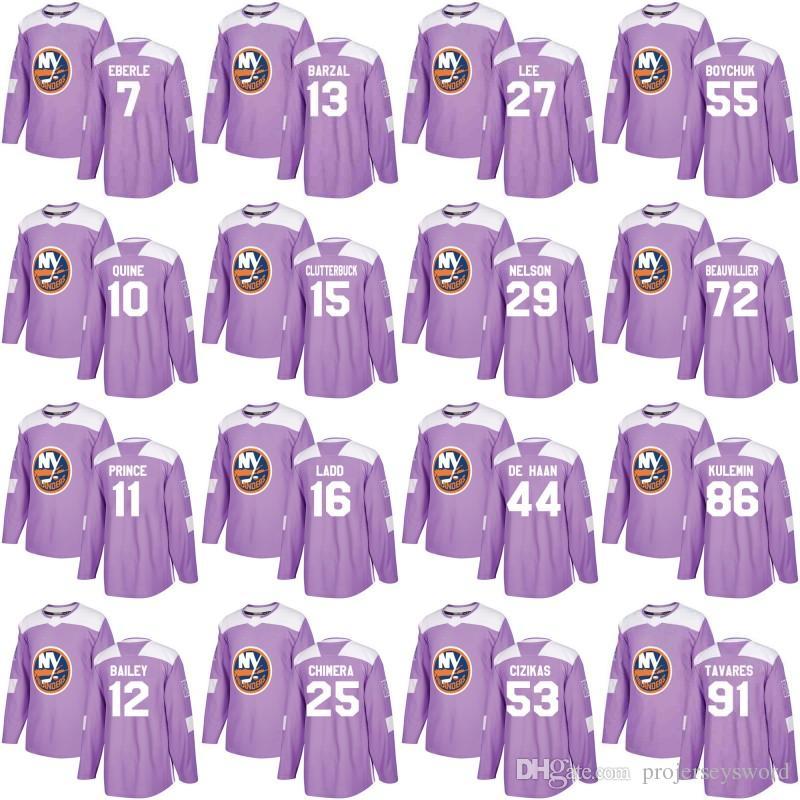 c497b5547 New York Islanders Jersey Purple Fights Cancer Practice 13 Mathew Barzal 27  Anders Lee 66 Josh Ho-Sang 91 John Tavares Hockey Jerseys New York Islanders  ...