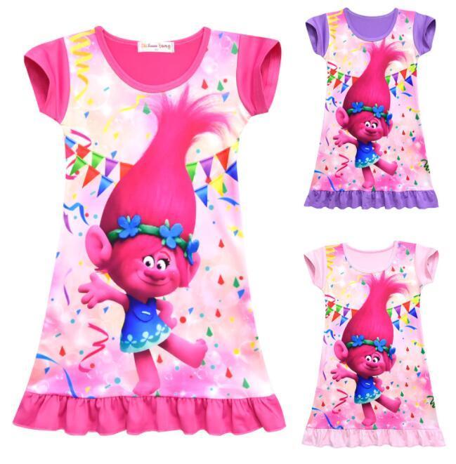 5815dc305d 2019 Girls Summer Trolls Pajamas Dress Kids Sleeve Dress Sleepwear Children  Cartoon Summer Night Skirts Cosplay Dress 5 Design KKA5604 From B2b life