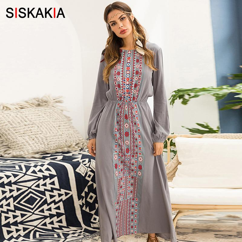 5ae4149f6c8f7 Siskakia Women long dress Autumn 2018 Vintage geometry pattern print maxi  dresses Beach holiday Vocation dress Gray long sleeve