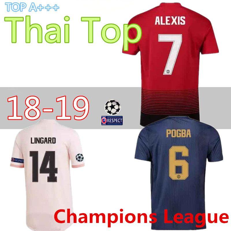 6c5330f27 Thai Home Away Man Utd Champions League ALEXIS LUKAKU Soccer Jersey Full  Shirt 18 19 Home POGBA RASHFORD Football Shirt MAILLOT DE FOOT Soccer  Jersey ...