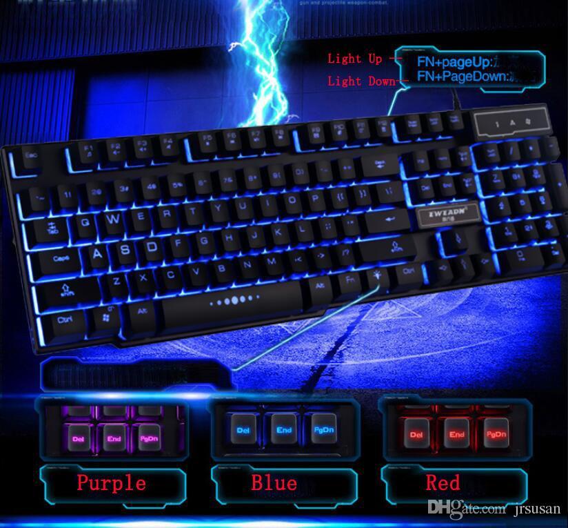 Juego Teclado Retroiluminación y teclas iluminadas Teclados ópticos con cable para jugadores Iluminación de respiración de la oficina Toque mecánico