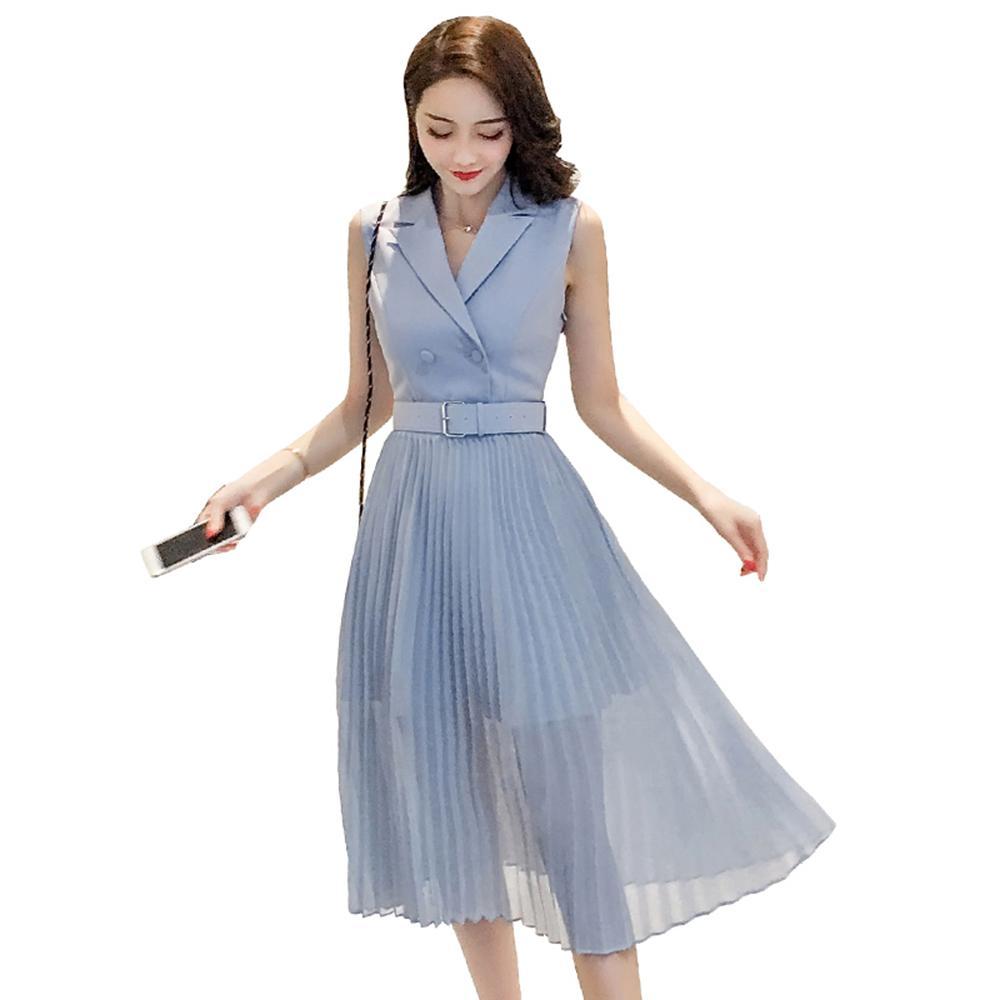 824e9b667 Compre Vestido Largo De La Gasa De La Gasa Azul Vendaje De Las Mujeres Sin  Mangas Elegantes Vestidos Casuales Oficina Festa Ropa De Verano Para  Mujeres ...