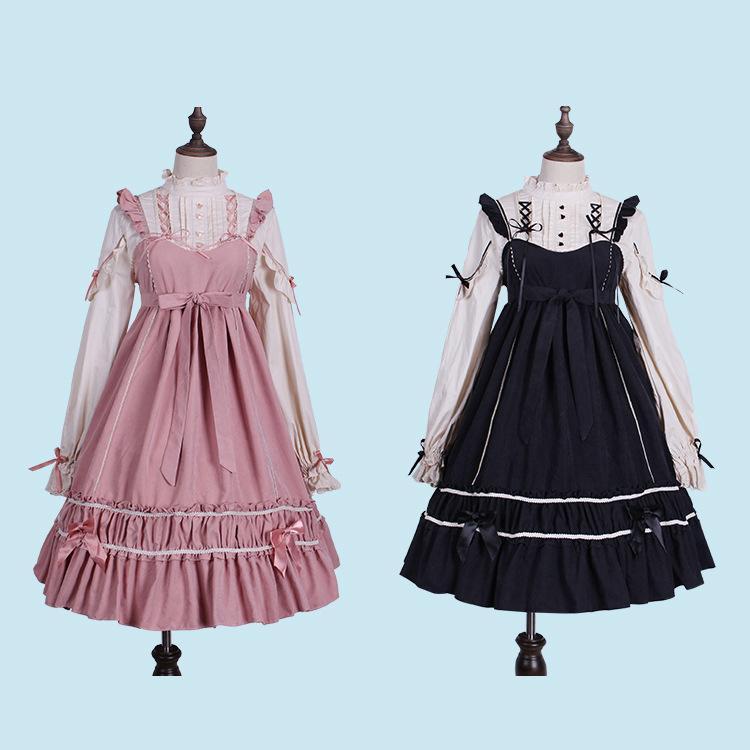 25cbf4a646b5e Lolita Dress Sweet Cute Kawaii Girls Shirt Princess Maid Vintage Gothic  High Waist Skirt Red Black Pink Women Summer Skirt