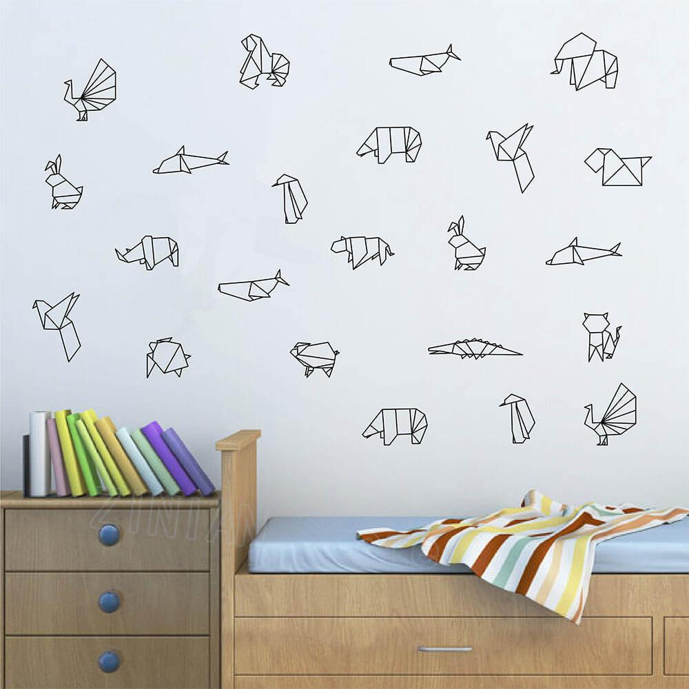 Grosshandel Diy Origami Tiere Vinyl Wandtattoo Schlafzimmer