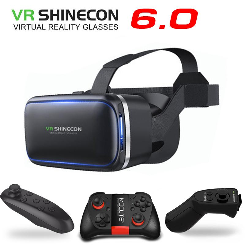 a062d2fdd47 Original VR Shinecon 6.0 Virtual Reality 3D Glasses Cardboard VRBOX Helmet  For 4.3 6.0 Inch Smartphone With Wireless Controller 3d Glasses Paper  3dglasses ...
