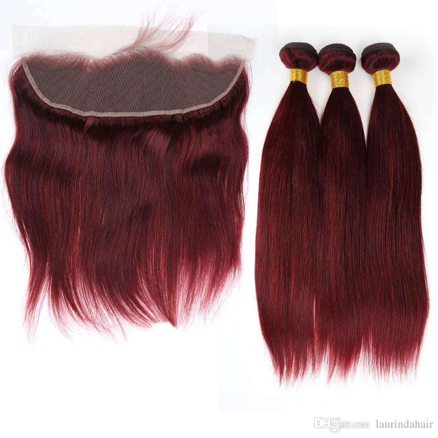 # 99J 와인 레드 3Bundles Peruvian Hair with Lace 정면 13x4 프리 파트 실키 스트레이트 부르고뉴 전체 인 레이스 정면 폐쇄