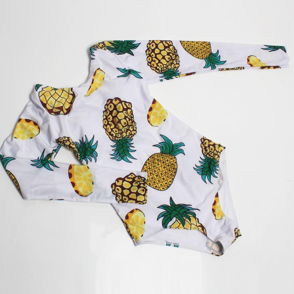 0a7c253000 2019 Surf Swimwear Women Long Sleeves One Piece Swimsuit Pineapple Leaves  Printed Summer Beachwear Bodysuit From Shunhuico