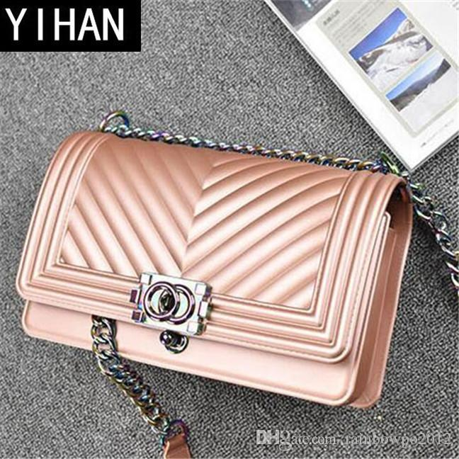 Factory independent brand women bag classic spoof matte frosting jelly bag fashion candy color chain package personality V pattern shoulder