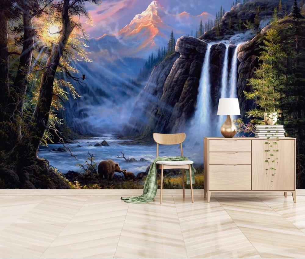 Pintura a óleo Papel De Parede de Vinil Estereoscópico cachoeira paisagem  Wallpapers Para Quarto Grande TV Desktop Papel De Parede Murais