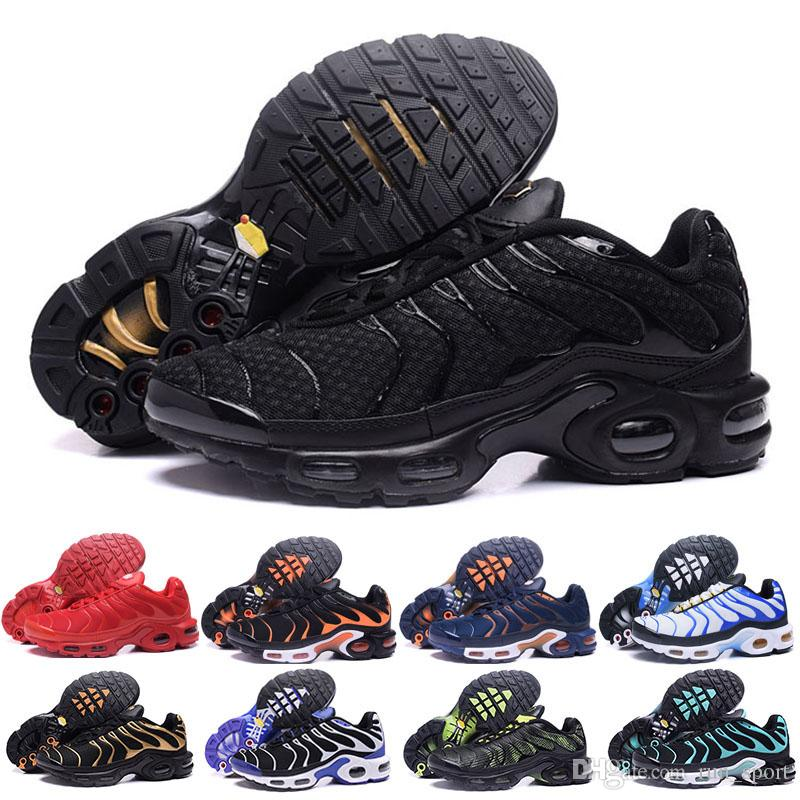 new style 4d8a1 98f3a Chaussures Tn Triple Black Gold Tns Running Shoes Breathable High Quality  Homme Tn Plus Ultra Requin Tn Shoes Zapatillas Size Eur 40 46 Barefoot  Running ...