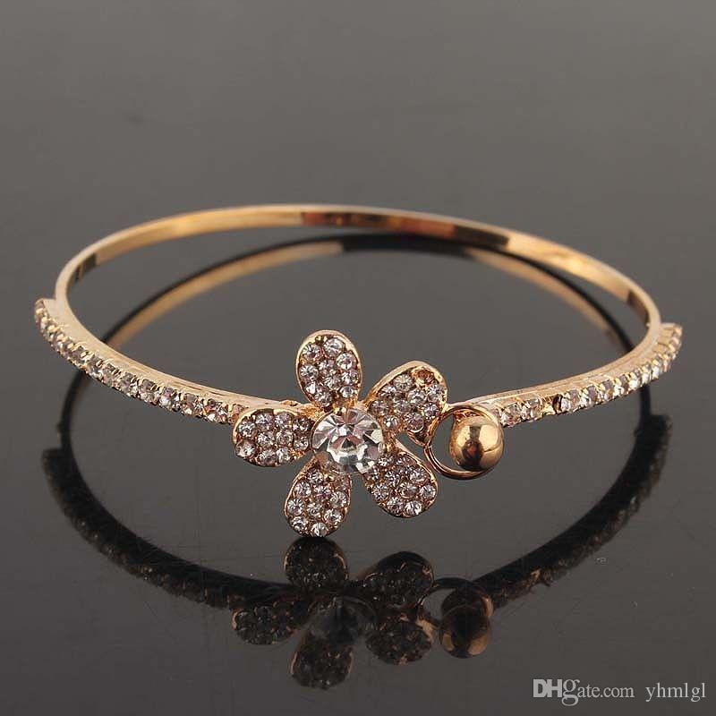 4 Style Fashion Women Gold-Filled Crystal chain Bracelet Bangle Jewelry charming
