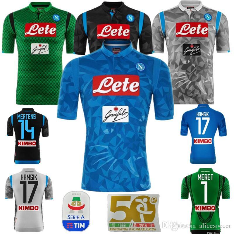 Compre       2019 Napoli Camisa De Futebol Fora 18 19 Camisa De Futebol  Azul Nápoles 2018 Personalizado   14 MERTENS   17 HAMSIK   24 INSIGNE  Uniforme De ... 52f1f41724d58